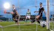 24 May 2019; Colm Horgan, left, and Conor McCarthy of Cork City fail to stop a shot from Joey O'Brien of Shamrock Rovers during the SSE Airtricity League Premier Division match between Shamrock Rovers and Cork City at Tallaght Stadium in Dublin. Photo by Stephen McCarthy/Sportsfile