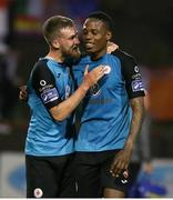 24 May 2019; Romeo Parks, lef,t and Lewis Banks of Sligo Rovers celebrate following the SSE Airtricity League Premier Division match between Bohemians and Sligo Rovers at Dalymount Park in Dublin. Photo by Michael P Ryan/Sportsfile