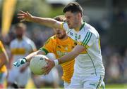 12 May 2019; Bernard Allen of Offaly in action against Shane Gallagher of Meath during the Meath and Offaly - Leinster GAA Football Senior Championship Round 1 match at Páirc Tailteann, Navan in Meath. Photo by Brendan Moran/Sportsfile