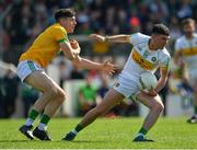 12 May 2019; Ruairí McNamee of Offaly in action against Séamus Lavin of Meath during the Meath and Offaly - Leinster GAA Football Senior Championship Round 1 match at Páirc Tailteann, Navan in Meath. Photo by Brendan Moran/Sportsfile