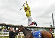 25 May 2019; Frankie Dettori dismounts Beshaayir after winning The Lanwades Stud Stakes at The Curragh Racecourse in Kildare. Photo by Matt Browne/Sportsfile