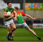 25 May 2019; Thomas O'Reilly of Meath in action against and Conor Doyle of Carlow during the Leinster GAA Football Senior Championship Quarter-Final match between Carlow and Meath at O'Moore Park in Portlaoise, Laois. Photo by Ray McManus/Sportsfile