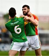 25 May 2019; Seán Murphy of Carlow jostles with Meath's Donal Keogan, before getting a red card, during the Leinster GAA Football Senior Championship Quarter-Final match between Carlow and Meath at O'Moore Park in Portlaoise, Laois. Photo by Ray McManus/Sportsfile