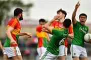 25 May 2019; Seán Murphy of Carlow, left,  jostles with Meath's Donal Keogan, 6, before getting a red card, during the Leinster GAA Football Senior Championship Quarter-Final match between Carlow and Meath at O'Moore Park in Portlaoise, Laois. Photo by Ray McManus/Sportsfile