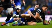 25 May 2019; DTH van der Merwe of Glasgow Warriors is tackled by Jonathan Sexton of Leinster during the Guinness PRO14 Final match between Leinster and Glasgow Warriors at Celtic Park in Glasgow, Scotland. Photo by Brendan Moran/Sportsfile