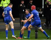 25 May 2019; Garry Ringrose of Leinster celebrates with team-mates Jordan Larmour and Josh van der Flier after scoring his side's first try during the Guinness PRO14 Final match between Leinster and Glasgow Warriors at Celtic Park in Glasgow, Scotland. Photo by Brendan Moran/Sportsfile
