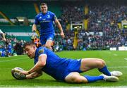 25 May 2019; Garry Ringrose of Leinster scores his side's first try during the Guinness PRO14 Final match between Leinster and Glasgow Warriors at Celtic Park in Glasgow, Scotland. Photo by Ramsey Cardy/Sportsfile