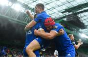 25 May 2019; Garry Ringrose of Leinster celebrates with team-mates after scoring his side's first try during the Guinness PRO14 Final match between Leinster and Glasgow Warriors at Celtic Park in Glasgow, Scotland. Photo by Ramsey Cardy/Sportsfile