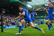 25 May 2019; Garry Ringrose of Leinster celebrates after scoring his side's first try during the Guinness PRO14 Final match between Leinster and Glasgow Warriors at Celtic Park in Glasgow, Scotland. Photo by Ramsey Cardy/Sportsfile
