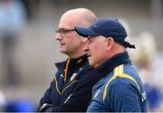 25 May 2019; Antrim Manager Lenny Harbinson, right, and assistant manager Brendan Trainor before the Ulster GAA Football Senior Championship Quarter-Final match between Antrim and Tyrone at the Athletic Grounds in Armagh. Photo by Oliver McVeigh/Sportsfile