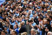 25 May 2019; Dublin supporters, on the town end terraces, applaud the career of the late Anton O'Toole before the Leinster GAA Football Senior Championship Quarter-Final match between Louth and Dublin at O'Moore Park in Portlaoise, Laois. Photo by Ray McManus/Sportsfile