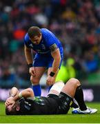 25 May 2019; Seán Cronin of Leinster checks on Fraser Brown of Glasgow Warriors after picking up an injury during the Guinness PRO14 Final match between Leinster and Glasgow Warriors at Celtic Park in Glasgow, Scotland. Photo by Ramsey Cardy/Sportsfile