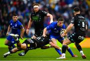 25 May 2019; Jordan Larmour of Leinster is tackled by DTH van der Merwe of Glasgow Warriors during the Guinness PRO14 Final match between Leinster and Glasgow Warriors at Celtic Park in Glasgow, Scotland. Photo by Ramsey Cardy/Sportsfile