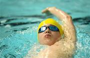25 May 2019; Joshua Foley from Kenmare, Co. Kerry competing in the Swimming Backstroke Under 14 & Over 12 Boys event during Day 1 of the Aldi Community Games May Festival, which saw over 3,500 children take part in a fun-filled weekend at the University of Limerick. Photo by Harry Murphy/Sportsfile