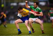 25 May 2019; Conor Daly of Roscommon in action against Darren Coen of Mayo during the Connacht GAA Football Senior Championship Semi-Final match between Mayo and Roscommon at Elverys MacHale Park in Castlebar, Mayo. Photo by Stephen McCarthy/Sportsfile