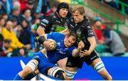 25 May 2019; Rhys Ruddock of Leinster is tackled by Jonny Gray of Glasgow during the Guinness PRO14 Final match between Leinster and Glasgow Warriors at Celtic Park in Glasgow, Scotland. Photo by Ross Parker/Sportsfile