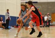 25 May 2019; Aisling Jordan from Oranmore, Co. Galway and Ellie Mai Walsh from Castleisland, Co. Kerry, competing in the Basketball Under 13 and Over 10 Girls  event during Day 1 of the Aldi Community Games May Festival, which saw over 3,500 children take part in a fun-filled weekend at the University of Limerick. Photo by Harry Murphy/Sportsfile