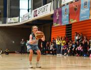 25 May 2019; Aisling Jordan from Oranmore, Co. Galway competing in the Basketball Under 13 and Over 10 Girls  event during Day 1 of the Aldi Community Games May Festival, which saw over 3,500 children take part in a fun-filled weekend at the University of Limerick. Photo by Harry Murphy/Sportsfile