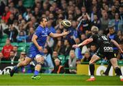 25 May 2019; James Lowe of Leinster attempts to catch a pass from team-mate Garry Ringrose during the Guinness PRO14 Final match between Leinster and Glasgow Warriors at Celtic Park in Glasgow, Scotland. Photo by Brendan Moran/Sportsfile