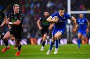 25 May 2019; Garry Ringrose of Leinster runs around Stuart Hogg of Glasgow Warriors during the Guinness PRO14 Final match between Leinster and Glasgow Warriors at Celtic Park in Glasgow, Scotland. Photo by Ramsey Cardy/Sportsfile