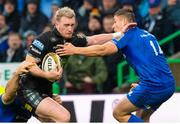 25 May 2019; Stuart Hogg of Glasgow Warriors fends off Jordan Larmour of Leinster during the Guinness PRO14 Final match between Leinster and Glasgow Warriors at Celtic Park in Glasgow, Scotland. Photo by Ross Parker/Sportsfile
