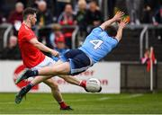 25 May 2019; John Clutterbuck of Louth in action against Jack McCaffrey of Dublin during the Leinster GAA Football Senior Championship Quarter-Final match between Louth and Dublin at O'Moore Park in Portlaoise, Laois. Photo by Eóin Noonan/Sportsfile