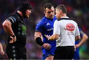 25 May 2019; Referee Nigel Owens speaks to Zander Fagerson of Glasgow Warriors and Cian Healy of Leinster during the Guinness PRO14 Final match between Leinster and Glasgow Warriors at Celtic Park in Glasgow, Scotland. Photo by Ramsey Cardy/Sportsfile