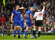 25 May 2019; Rob Kearney of Leinster is shown a yellow card by referee Nigel Owens during the Guinness PRO14 Final match between Leinster and Glasgow Warriors at Celtic Park in Glasgow, Scotland. Photo by Brendan Moran/Sportsfile