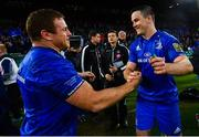 25 May 2019; Jonathan Sexton, right, and Seán Cronin of Leinster celebrate following the Guinness PRO14 Final match between Leinster and Glasgow Warriors at Celtic Park in Glasgow, Scotland. Photo by Ramsey Cardy/Sportsfile