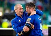 25 May 2019; Leinster coach Stuart Lancaster celebrates with Andrew Porter after the Guinness PRO14 Final match between Leinster and Glasgow Warriors at Celtic Park in Glasgow, Scotland. Photo by Ross Parker/Sportsfile