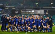 25 May 2019; The Leinster team celebrate with the cup after the Guinness PRO14 Final match between Leinster and Glasgow Warriors at Celtic Park in Glasgow, Scotland. Photo by Brendan Moran/Sportsfile