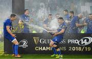 25 May 2019; Luke McGrath and Jonathan Sexton of Leinster, left, celebrate after the Guinness PRO14 Final match between Leinster and Glasgow Warriors at Celtic Park in Glasgow, Scotland. Photo by Brendan Moran/Sportsfile
