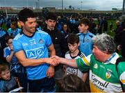 25 May 2019; Rory O'Carroll of Dublin is congratulated by legendary Offaly supporter Mick McDonagh following the Leinster GAA Football Senior Championship Quarter-Final match between Louth and Dublin at O'Moore Park in Portlaoise, Laois. Photo by Eóin Noonan/Sportsfile