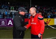 25 May 2019; Dublin manager Jim Gavin shakes hands with Louth manager Wayne Ó'Ciaráin following the Leinster GAA Football Senior Championship Quarter-Final match between Louth and Dublin at O'Moore Park in Portlaoise, Laois. Photo by Eóin Noonan/Sportsfile