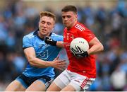 25 May 2019; Conal McKeever of Louth in action against Rory O'Carroll of Dublin during the Leinster GAA Football Senior Championship Quarter-Final match between Louth and Dublin at O'Moore Park in Portlaoise, Laois. Photo by Eóin Noonan/Sportsfile