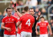 25 May 2019; James Craven of Louth is shown a black card by referee Jerome Henry during the Leinster GAA Football Senior Championship Quarter-Final match between Louth and Dublin at O'Moore Park in Portlaoise, Laois. Photo by Eóin Noonan/Sportsfile