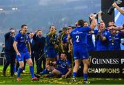 25 May 2019; Jonathan Sexton, left, and Sean Cronin celebrate with their Leinster team-mates after the Guinness PRO14 Final match between Leinster and Glasgow Warriors at Celtic Park in Glasgow, Scotland. Photo by Ramsey Cardy/Sportsfile