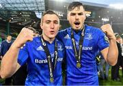 25 May 2019; Jordan Larmour and Max Deegan of Leinster celebrate after the Guinness PRO14 Final match between Leinster and Glasgow Warriors at Celtic Park in Glasgow, Scotland. Photo by Brendan Moran/Sportsfile