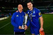 25 May 2019; Leinster senior coach Stuart Lancaster, left,  Leinster captain Jonathan Sexton with the cup after the Guinness PRO14 Final match between Leinster and Glasgow Warriors at Celtic Park in Glasgow, Scotland. Photo by Ramsey Cardy/Sportsfile