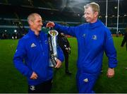 25 May 2019; Leinster senior coach Stuart Lancaster, left, and Leinster head coach Leo Cullen celebrate after the Guinness PRO14 Final match between Leinster and Glasgow Warriors at Celtic Park in Glasgow, Scotland. Photo by Ramsey Cardy/Sportsfile
