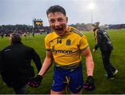 25 May 2019; Conor Cox of Roscommon celebrates following the Connacht GAA Football Senior Championship Semi-Final match between Mayo and Roscommon at Elverys MacHale Park in Castlebar, Mayo. Photo by Stephen McCarthy/Sportsfile