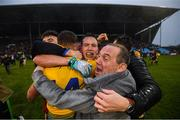 25 May 2019; Tadgh O'Rourke and Conor Cox, left, of Roscommon celebrate following the Connacht GAA Football Senior Championship Semi-Final match between Mayo and Roscommon at Elverys MacHale Park in Castlebar, Mayo. Photo by Stephen McCarthy/Sportsfile