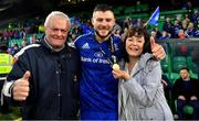 25 May 2019; Robbie Henshaw of Leinster celebrates with his parents Tony and Audrey after the Guinness PRO14 Final match between Leinster and Glasgow Warriors at Celtic Park in Glasgow, Scotland. Photo by Brendan Moran/Sportsfile