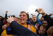 25 May 2019; Enda Smith of Roscommon celebrates with supporters following the Connacht GAA Football Senior Championship Semi-Final match between Mayo and Roscommon at Elverys MacHale Park in Castlebar, Mayo. Photo by Stephen McCarthy/Sportsfile