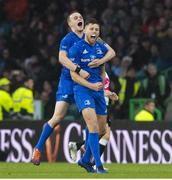 25 May 2019; Ross Byrne, right, and Nick McCarthy of Leinster celebrates at full time of the Guinness PRO14 Final match between Leinster and Glasgow Warriors at Celtic Park in Glasgow, Scotland. Photo by Ross Parker/Sportsfile