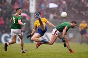 25 May 2019; Aidan O'Shea, right, and Jason Doherty of Mayo in action against Sean Mullooly of Roscommon during the Connacht GAA Football Senior Championship Semi-Final match between Mayo and Roscommon at Elverys MacHale Park in Castlebar, Mayo. Photo by Stephen McCarthy/Sportsfile