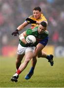 25 May 2019; Evan Regan of Mayo in action against Conor Cox of Roscommon during the Connacht GAA Football Senior Championship Semi-Final match between Mayo and Roscommon at Elverys MacHale Park in Castlebar, Mayo. Photo by Stephen McCarthy/Sportsfile