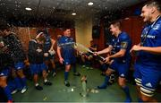 25 May 2019; Tadhg Furlong, left, and Jonathan Sexton of Leinster celebrate in the dressing room after the Guinness PRO14 Final match between Leinster and Glasgow Warriors at Celtic Park in Glasgow, Scotland. Photo by Ramsey Cardy/Sportsfile