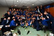 25 May 2019; The Leinster team celebrate in the dressing room after the Guinness PRO14 Final match between Leinster and Glasgow Warriors at Celtic Park in Glasgow, Scotland. Photo by Ramsey Cardy/Sportsfile