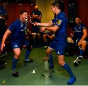 25 May 2019; Tadhg Furlong and Jonathan Sexton of Leinster celebrate in the dressing room after the Guinness PRO14 Final match between Leinster and Glasgow Warriors at Celtic Park in Glasgow, Scotland. Photo by Ramsey Cardy/Sportsfile